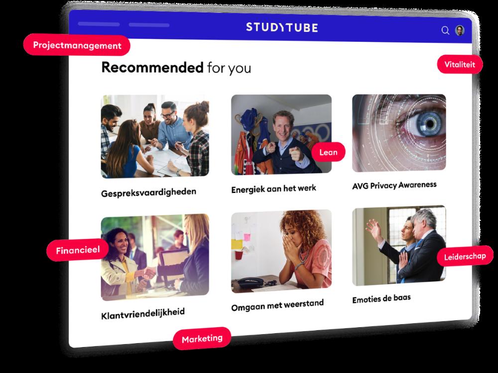 Voorbeeldweergave ter illustratie van het Learning Experience Platform van Studytube